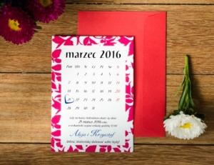 model czerwonego zaproszenia ślubnego - kartka z kalendarza